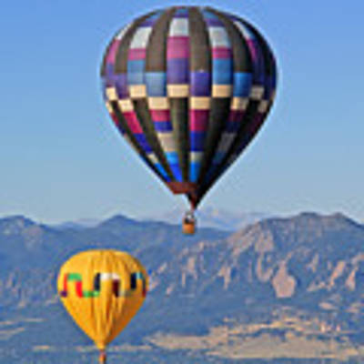 2 Balloons Flying Over The Flatirons Poster by Scott Mahon