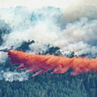 Air Tanker On Crow Peak Fire Poster by Bill Gabbert