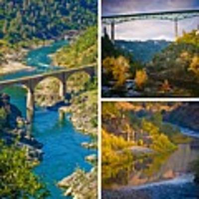 American River Triptych 3 Poster by Sherri Meyer