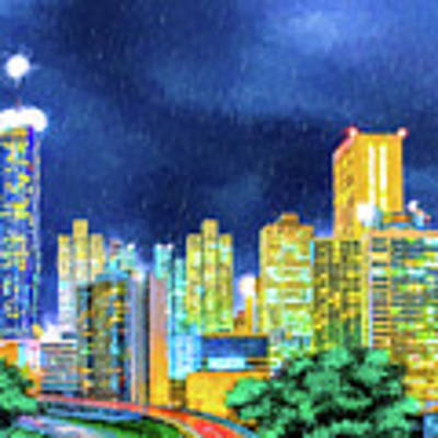 Atlanta Skyline At Night Poster by Mark Tisdale