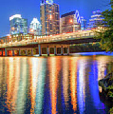 Austin Texas Skyline Night Reflections Poster by Gregory Ballos
