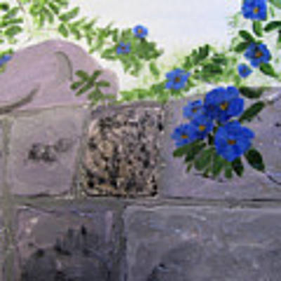 Blossoms Along The Wall Poster by Linda Feinberg