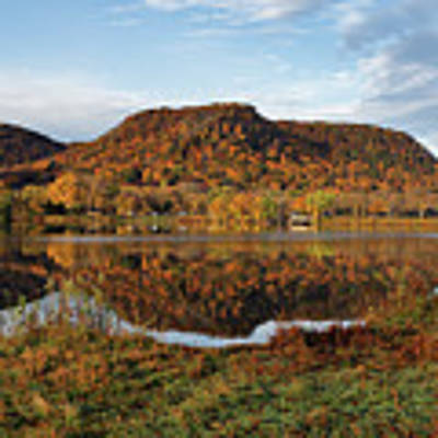 Bluff Reflection And Shoreline Agree In Winona Minnesota Poster by Kari Yearous