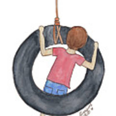Boy On Swing 1 Poster by Betsy Hackett
