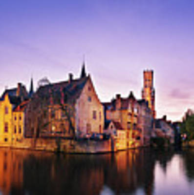 Bruges At Dusk Poster by Barry O Carroll