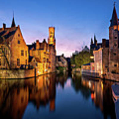 Bruges Canals At Blue Hour Poster by Barry O Carroll