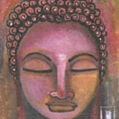 Buddha In Shades Of Purple Poster by Prerna Poojara