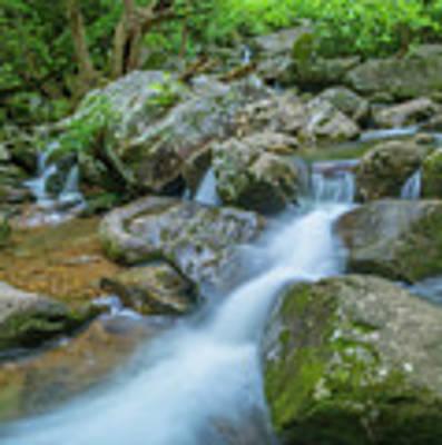 Catawba Stream Cascades At High Shoals Falls In North Carolina Poster by Ranjay Mitra