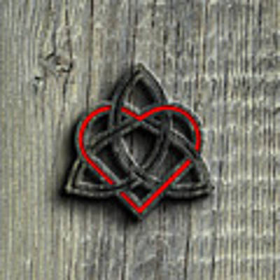 Celtic Knotwork Valentine Heart Wood Texture 2 Poster by Brian Carson