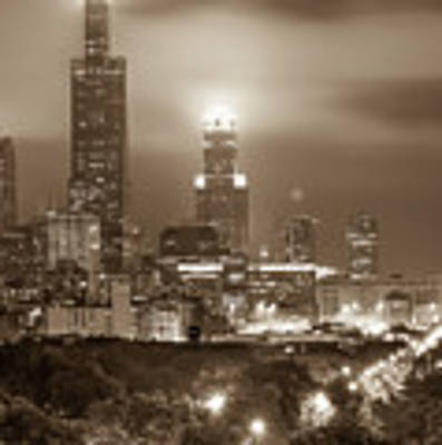 City Of Chicago Skyline Over The Trees In Sepia Poster by Gregory Ballos