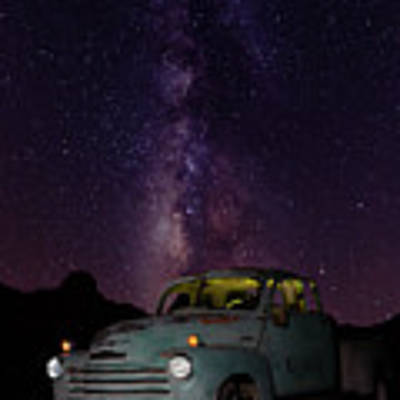 Classic Truck Under The Milky Way Poster by James Sage