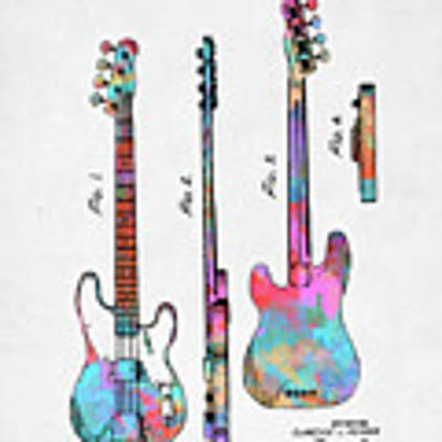Colorful 1953 Fender Bass Guitar Patent Artwork Poster by Nikki Marie Smith