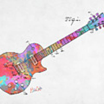 Colorful 1955 Mccarty Gibson Les Paul Guitar Patent Artwork Mini Poster by Nikki Marie Smith