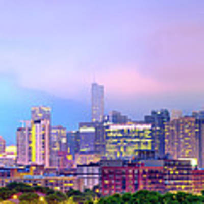 Downtown Chicago Cityscape Skyline Panorama Poster by Gregory Ballos
