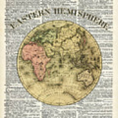 Eastern Hemisphere Earth Map Over Dictionary Page Poster by Anna W
