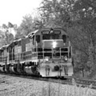 Fall Train In Black And White Poster by Rick Morgan