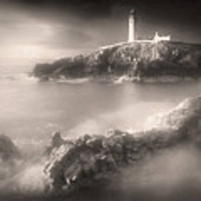 Fanad Lighthouse In The Mist Poster by Susan Maxwell Schmidt