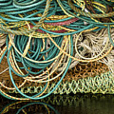 Fishnets And Ropes Poster by Carol Leigh