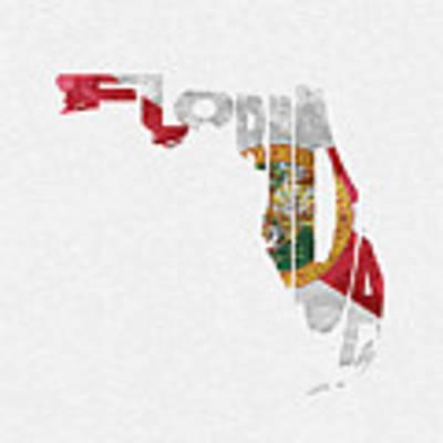 Florida Typographic Map Flag Poster