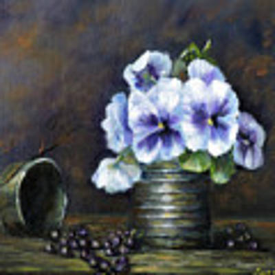Flowers,pansies Still Life Poster by Katalin Luczay