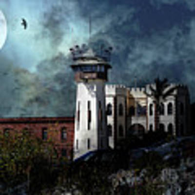 Full Moon Over Hard Time San Quentin California State Prison 7d18546 V2 Long Poster by San Francisco Art and Photography