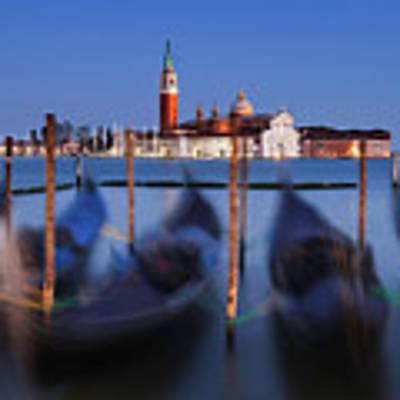 Gondolas And San Giorgio Maggiore At Night - Venice Poster by Barry O Carroll