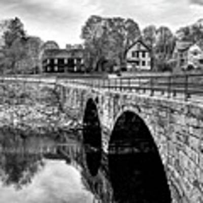 Green Street Bridge In Black And White Poster by Wayne Marshall Chase