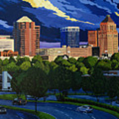 Greensboro Skyline In The Sunshine Poster by John Gibbs
