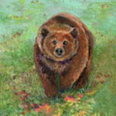 Grizzly In The Meadow Poster by Lauren Heller