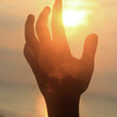 Hand Reaching Fore The Sun Poster by Emanuel Tanjala