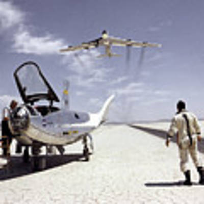 Hl-10 On Lakebed With B-52 Flyby Poster by Artistic Panda