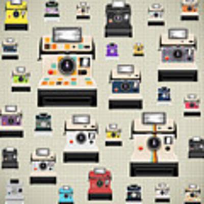 Instant Camera Pattern Poster by Setsiri Silapasuwanchai