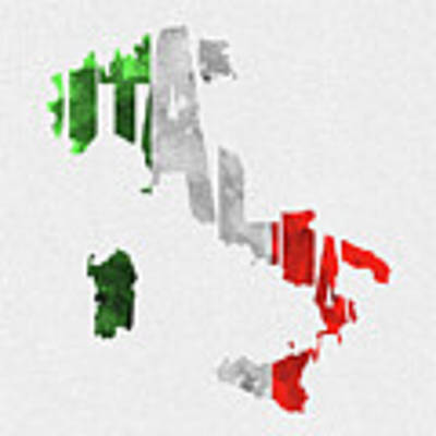 Italy Typographic Map Flag Poster