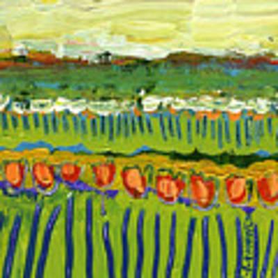 Landscape In Green And Orange Poster