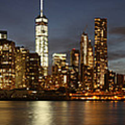 Manhattan Skyline At Night - Panorama Poster by Nathan Rupert