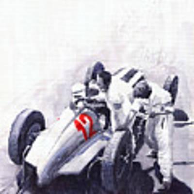 Mercedes Benz W125 Rudolf Caracciola The German Grand Prix Nurburgring 1937  Poster