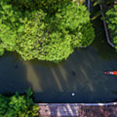 Monk Rowing Boat Along Floating Market Aerial View Poster by Pradeep Raja PRINTS