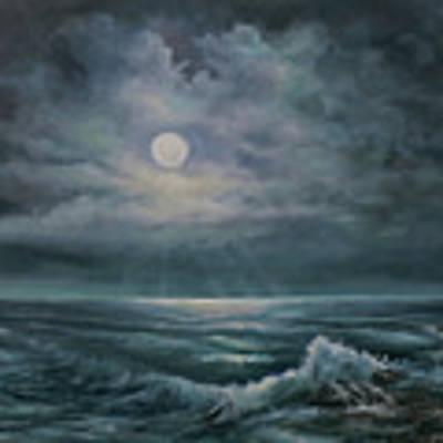 Moonlit Seascape Poster by Katalin Luczay