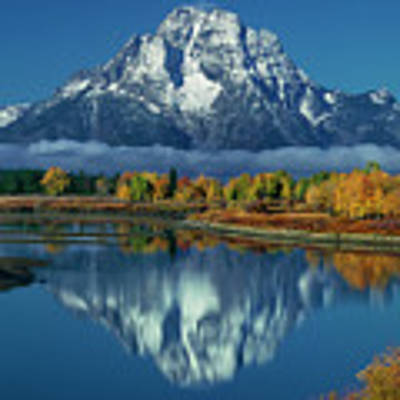 Morning Cloud Layer Oxbow Bend In Fall Grand Tetons National Park Poster by Dave Welling