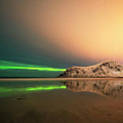 Northern Light In Lofoten Nordland 5 Poster by Dubi Roman