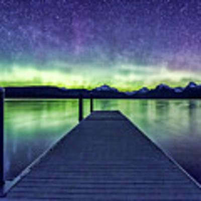 Northern Lights Glacier National Park Poster by Gigi Ebert