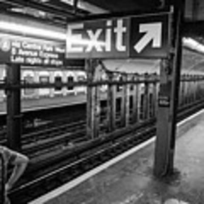 Nyc Subway At Night Poster by Ranjay Mitra