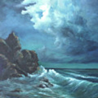 Seascape And Moonlight An Ocean Scene Poster by Katalin Luczay
