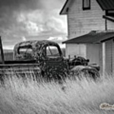 Old Truck At Farmhouse Poster by William Havle