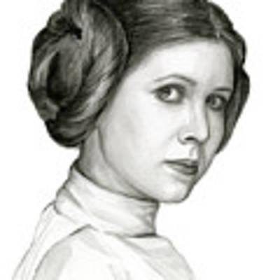 Princess Leia Watercolor Portrait Poster by Olga Shvartsur