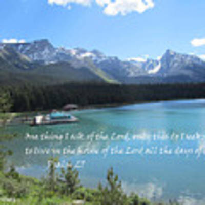 Psalm 27 With Maligne Lake Poster by Linda Feinberg