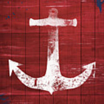 Red And White Anchor- Art By Linda Woods Poster by Linda Woods