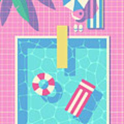 Retro 80s Swimming Pool Poster by Ivan Krpan