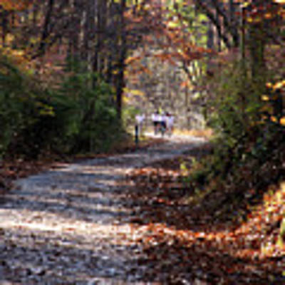 Riding Bikes On Park Trail In Autumn Poster by Emanuel Tanjala