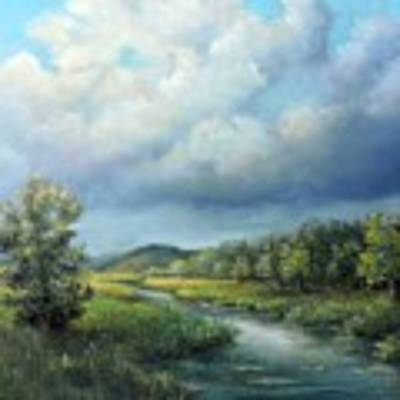River Landscape Spring After The Rain Poster by Katalin Luczay